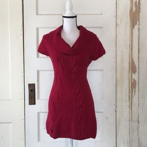 Red Express Short Sleeved Sweater Dress